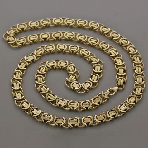 "9ct Yellow Gold Unique Flat Byzantine Chain - 26""  - 10mm"