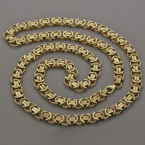 """9ct Solid Yellow Gold Unique Flat Byzantine Chain - 29.25""""- 10mm"""