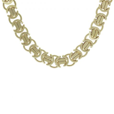 "9ct Yellow Gold Heavy Flat Byzantine Chain - 28"" - 11mm"