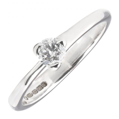 Pre-Owned 18ct White Gold 0.25ct Diamond Unique Engagement Ring