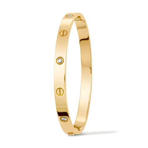 9ct Yellow Gold 0.48ct Diamond Set Screw Bangle - 6mm - Ladies