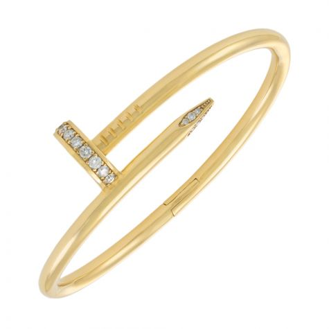 9ct Yellow Gold Solid 0.94ct Diamond Set Nail Bangle -4mm- Ladies