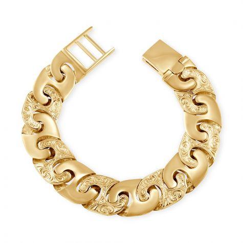 """9ct Gold Solid Ornate Mariner Bracelet - 19mm - 8.75"""" - Gents"""