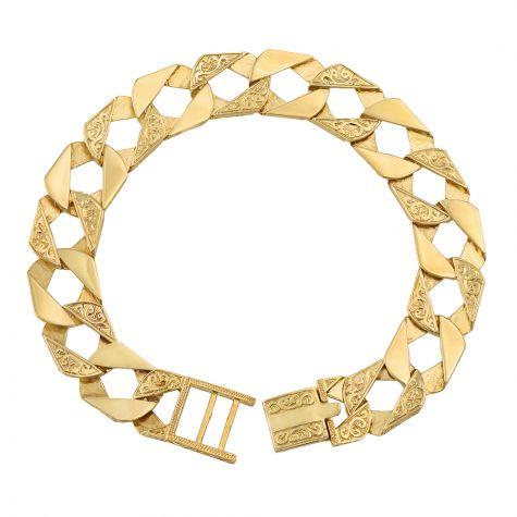 "9ct Gold Solid Ornate Square Curb Bracelet - 14mm - 9"" - Gents"