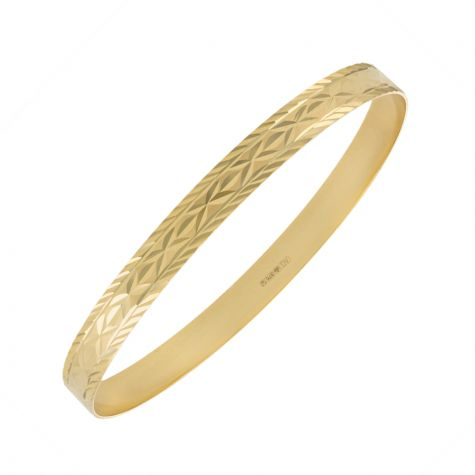 9ct Yellow Gold D-Shaped Diamond Cut Slave Bangle - 6.5mm - Ladies