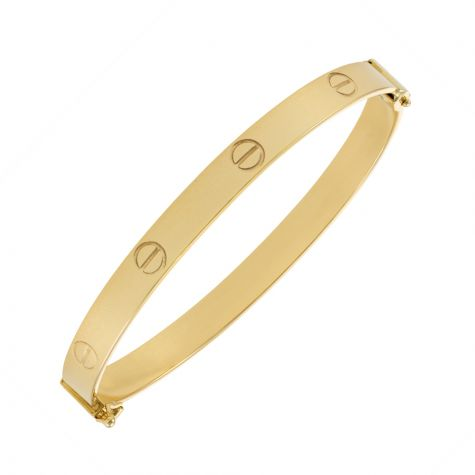 """9ct Yellow Gold Polished Screw Bangle - 6mm - 6.75""""- Ladies Size"""