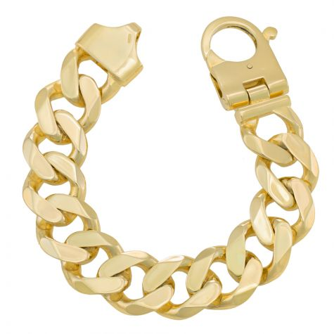 """9ct Yellow Gold Solid Heavy Curb Bracelet - 19mm -  8.5"""" - Gents"""