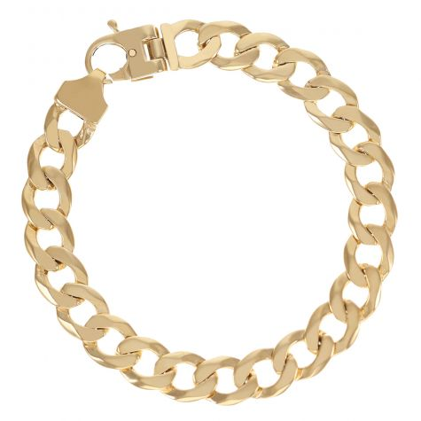 """9ct Gold Solid Bevelled Edge Curb Bracelet - 10.5mm - 9"""" Gents"""