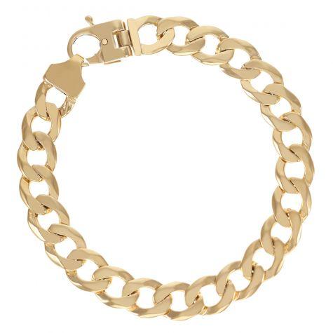 """9ct Gold Solid Bevelled Edge Curb Bracelet - 10.5mm - 8.25"""" Gents"""