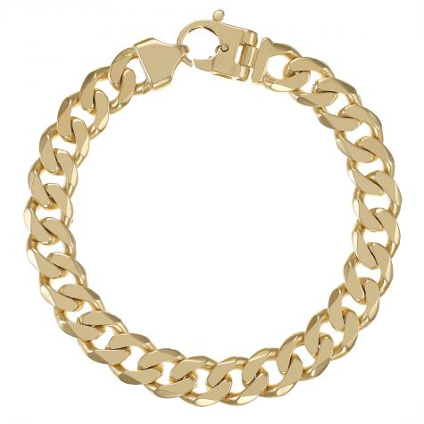 "9ct Gold Solid Bevelled Edge Curb Bracelet - 11mm - 8.5"" - Gents"