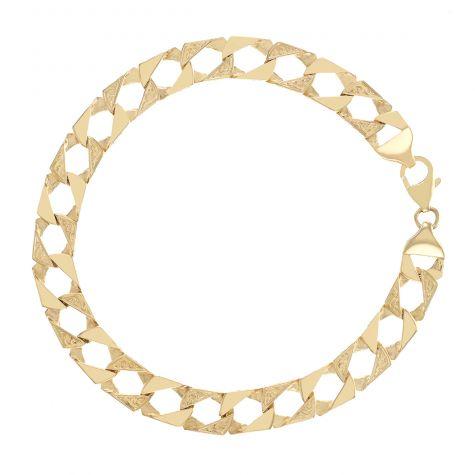 "9ct Solid Gold Patterned Square Curb Bracelet - 9mm - 9"" - Gents"