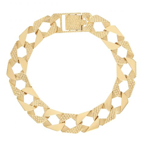 """Solid 9ct Gold Textured Square Curb Bracelet - 14 mm - 9"""" - Gents"""