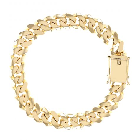 """9ct Yellow Gold Solid  Miami Cuban Bracelet - 11mm - 8.5""""- Gents"""
