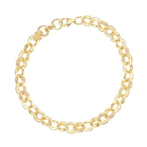 """9ct Yellow Gold Solid Textured Belcher Bracelet - 8mm - 9""""- Gents"""