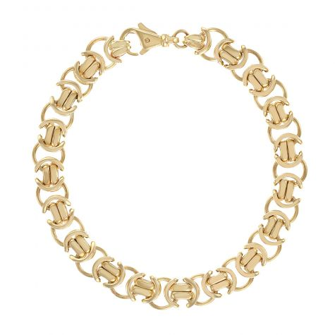 "9ct Yellow Gold Men's Medium Flat Byzantine Bracelet - 8.75"" 10mm"