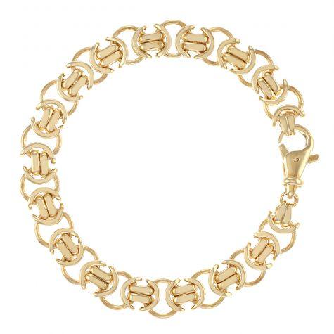 "Solid Heavy 9ct Gold Flat Byzantine Bracelet -9"" - 11mm - Gent`s"