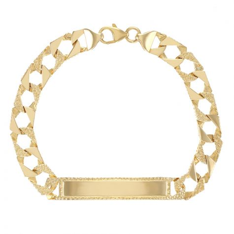 """9ct Gold Solid Patterned ID Curb Bracelet - 9mm - 8.5"""" - Gents"""