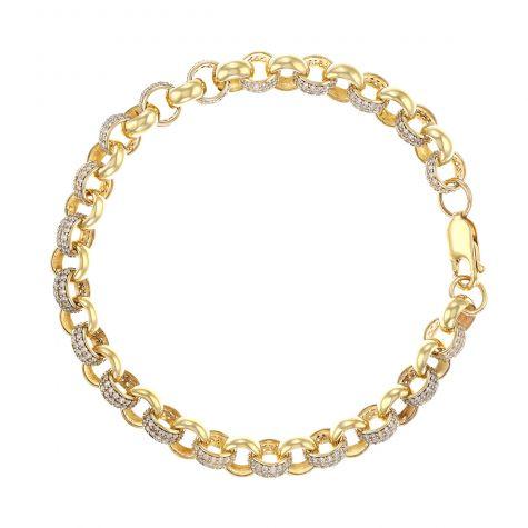 """9ct Gold Gem-Set Belcher Link Bracelet -  7.5mm - 8"""" - Ladies"""