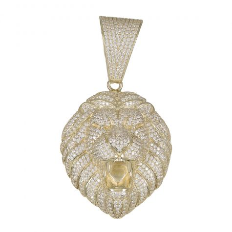 9ct Yellow Gold Iced Out Cubic Zirconia 3D Lion's Head Pendant