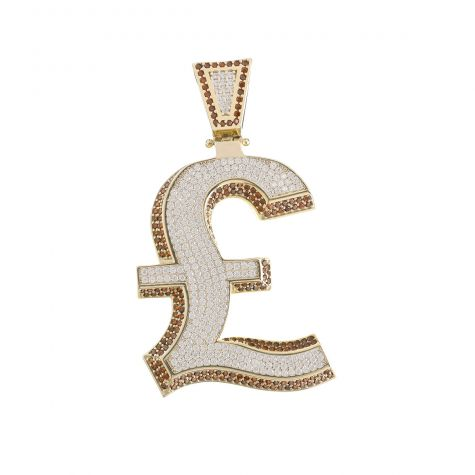 Solid 9ct Yellow Gold Gemset Iced-Out 3D Pound Sign Pendant