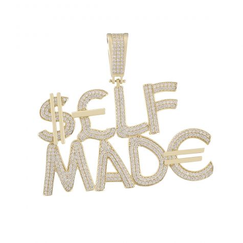 9ct Yellow Gold Iced Out 3D Letters 'SELF MADE' Pendant
