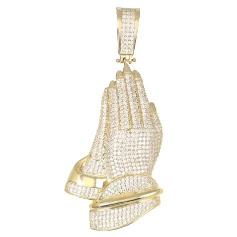 9ct Yellow Gold Cubic Zirconia Iced Out 3D Praying Hands Pendant