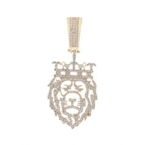 9ct Yellow Gold Iced Out Gem Set Crown Lion Head Pendant
