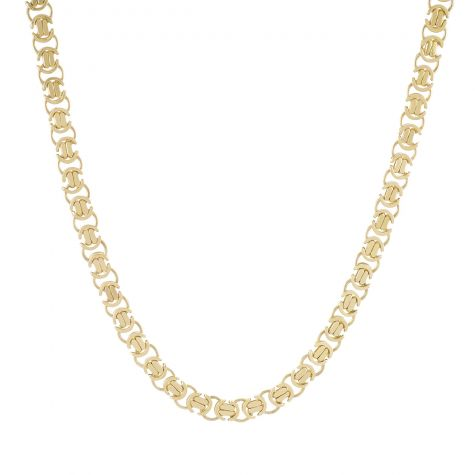 """9ct Yellow Gold Heavy Solid Flat Byzantine Chain - 28""""  - 8mm"""