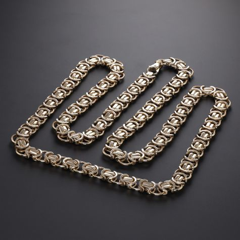 """Heavy 9ct Yellow Gold Solid Flat Byzantine Chain - 28"""" - 8mm"""