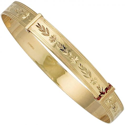 9ct Gold Diamond Cut Patterned Expandable Bangle -Childs / Maiden