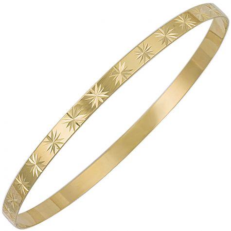 9ct Yellow Gold Diamond Cut Star Slave Bangle - 4mm - Ladies
