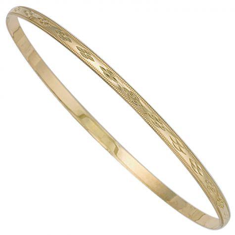 9ct Yellow Gold D-Shaped Diamond Cut Slave Bangle - 3mm - Ladies