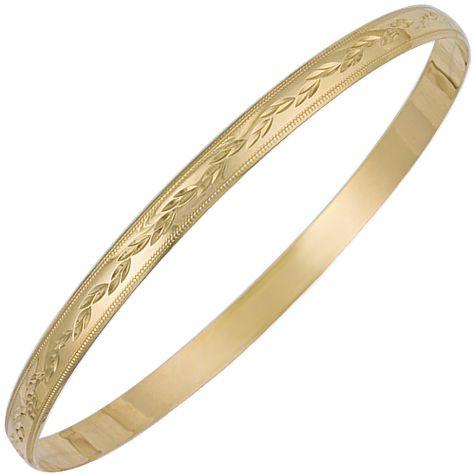 9ct Yellow Gold Floral Diamond Cut Slave Bangle - 5mm - Ladies