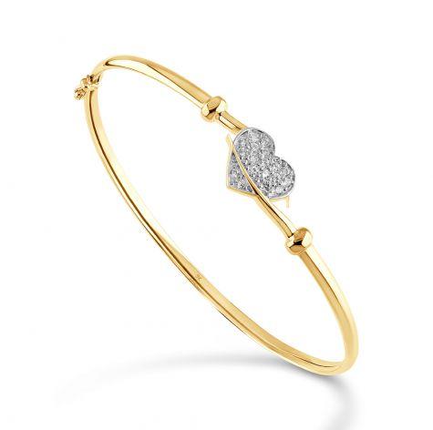"9ct Yellow Gold Gem-set Heart Bangle - 6.5"" - Ladies"