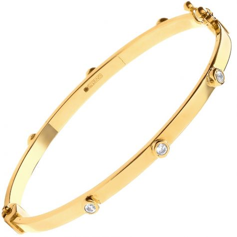 9ct Yellow Gold Rub-over Set CZ Polished Bangle - Babies