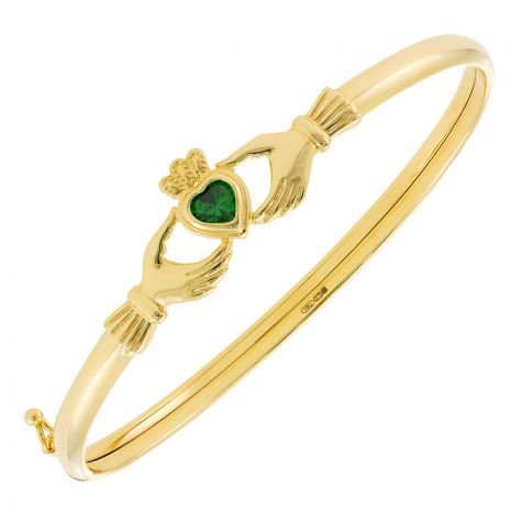 9ct Yellow Gold Green Gemstone Claddagh Bangle - 4.5mm - Ladies