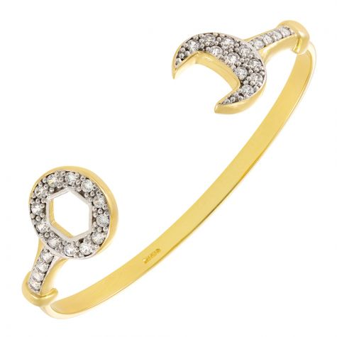 9ct Solid Gold Gem Set Spanner Torque Bangle - Babies