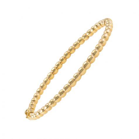 9ct Yellow Gold Modern Bead Design Bangle - 4mm - Ladies