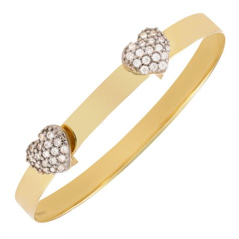 9ct Yellow Gold Double Heart Design Expandable Bangle - Babies