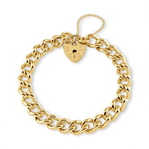 "9ct Gold Tight Curb & Padlock Charm Bracelet - 8mm - 7""- Ladies"