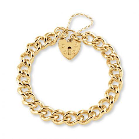 "9ct Gold Tight Link Curb & Padlock Charm Bracelet-10mm -7""-Ladies"