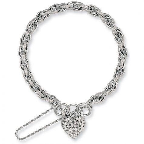 "9ct White Gold Prince Of Wales Charm Bracelet - 7"" - Ladies"