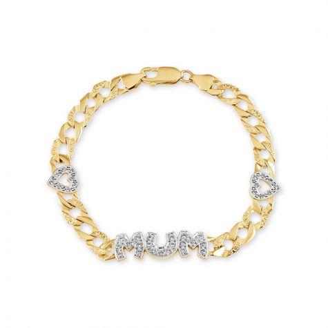"9ct Yellow Gold Gem-set Mum & Heart Curb Bracelet - 7""- Ladies"