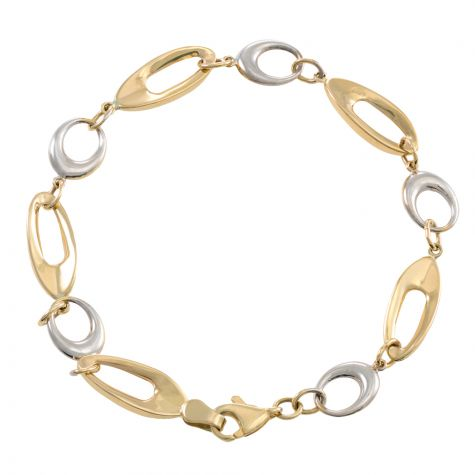 """9ct Yellow & White Gold Fancy Polished Link Bracelet - 7""""- Ladies"""