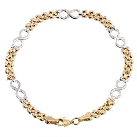 "9ct Yellow & White Gold Infinity Bracelet - 5.5mm - 7"" - Ladies"