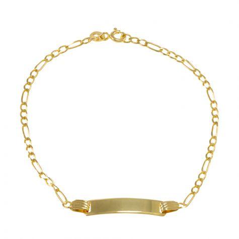 "9ct Yellow Gold Figaro Design ID Bracelet - 2.5mm - 7"" - Ladies"