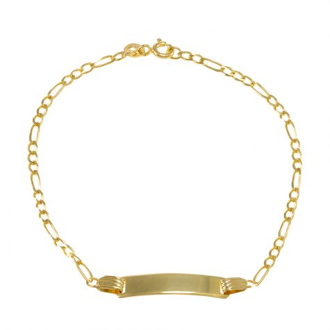 "9ct Yellow Gold Figaro Design ID Bracelet - 2.5mm - 6"" - Babies"