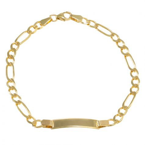 "9ct Yellow Gold Figaro Design ID Bracelet - 4.5mm - 6"" - Babies"