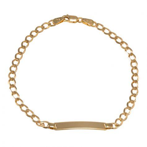 "9ct Yellow Gold Curb Design ID Bracelet - 3.5mm - 6"" - Babies"