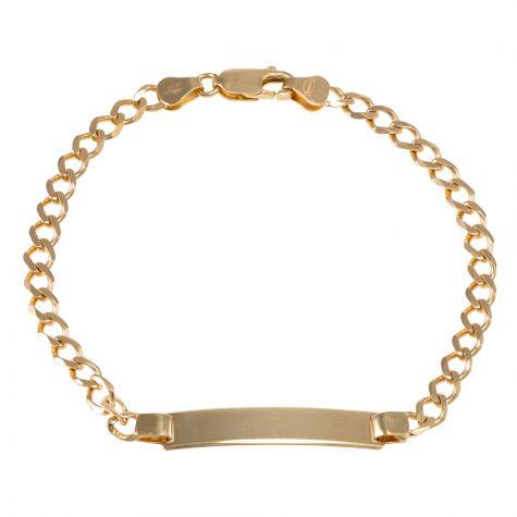 "9ct Yellow Gold Curb Design ID Bracelet - 4.5mm - 6"" - Babies"